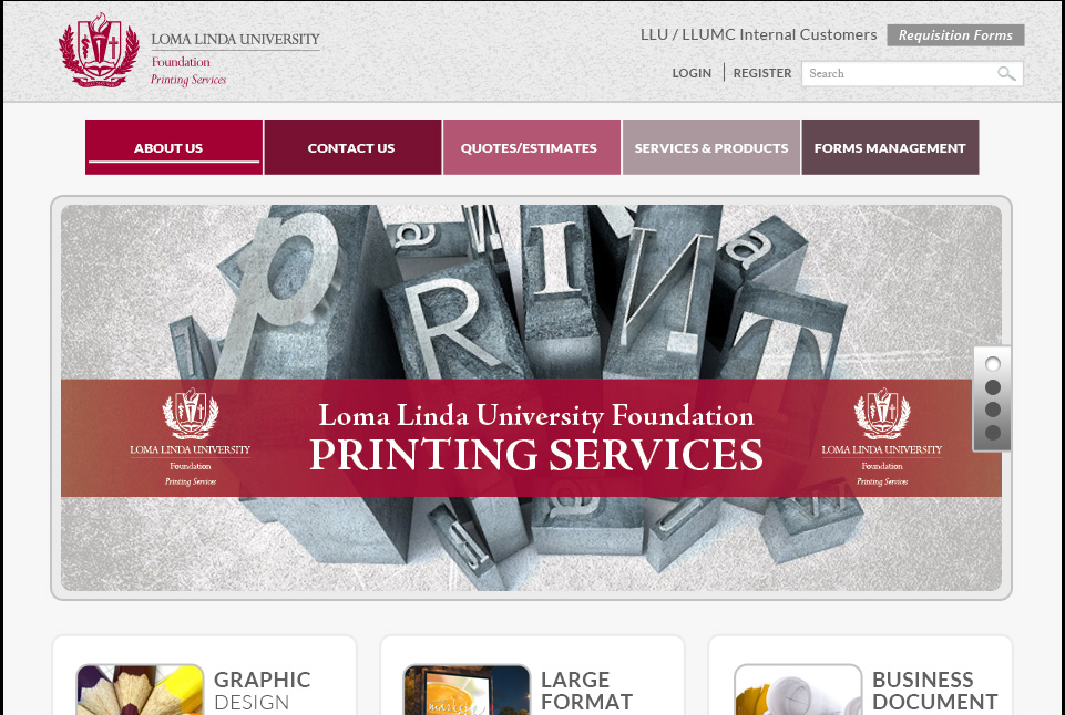 Loma Linda University Print Services Website 1