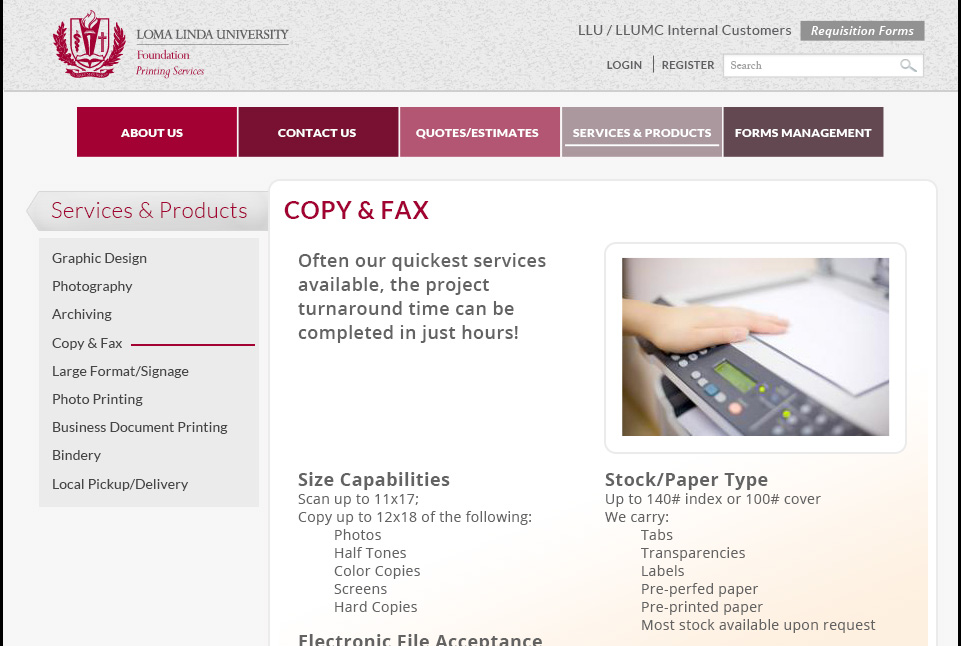 Loma Linda University Print Services Website 2