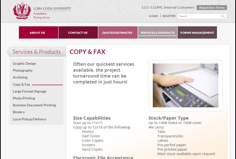 Loma Linda University Print Services Website 2