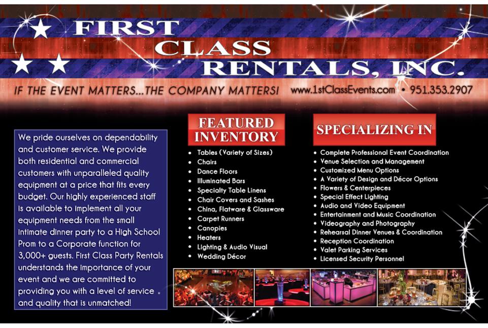 First Class Rentals Flyer