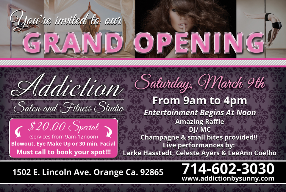 Addiction Salon and Fitness Grand Opening Flyer