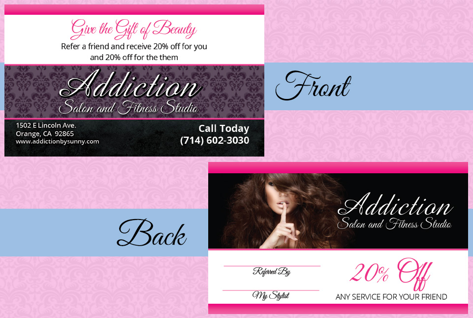 Addiction Salon and Fitness Referral Card