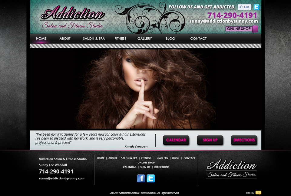 Addiction Salon and Fitness Website