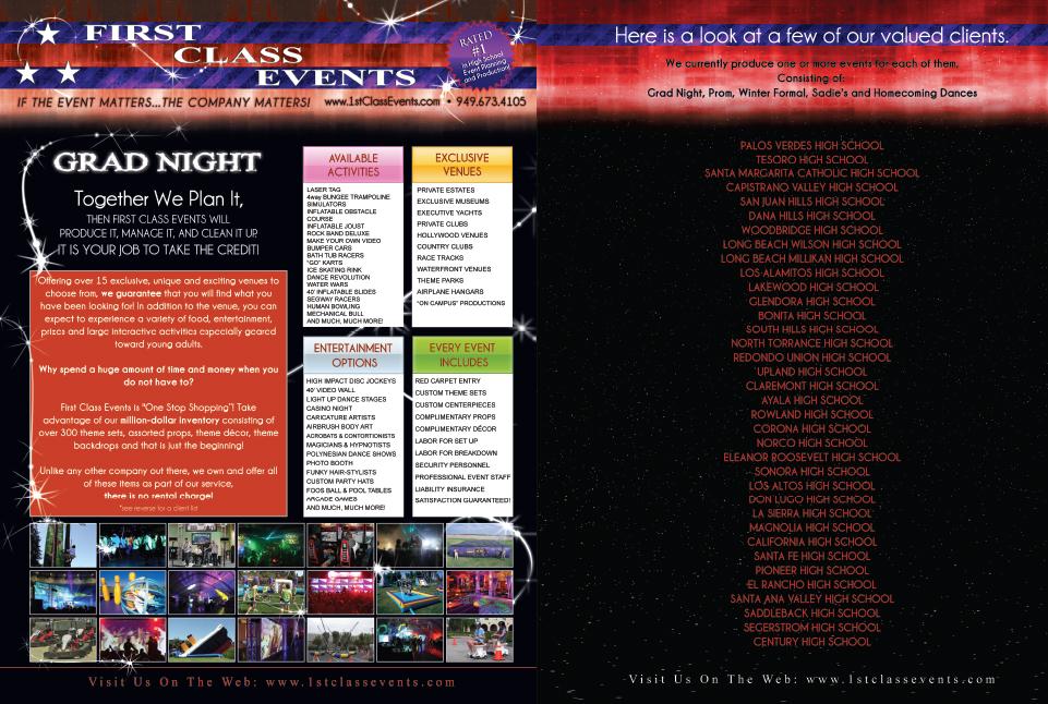 First Class Events Flyer