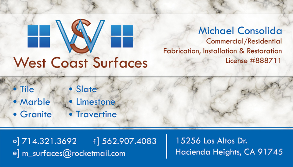 West Coast Surfaces Custom Business Card