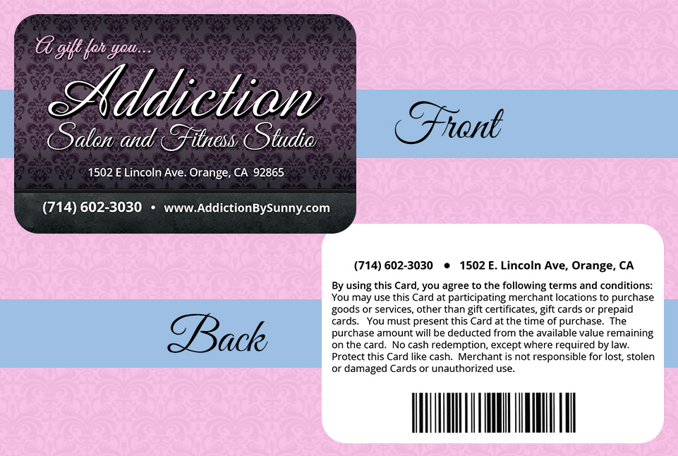 Addiction Salon and Fitness Gift Card