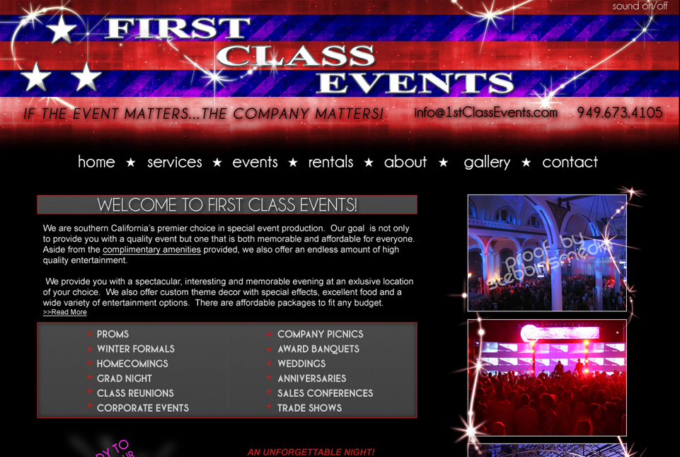 First Class Events Home Page